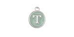 "Sweet Mint Enamel Silver Finish Initial Coin Charm ""T"" 12x14mm"