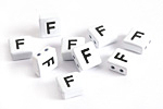 "White Enamel 2-Hole Tile Square Bead w/ Letter ""F"" 8mm"