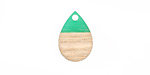 Wood & Emerald Resin Teardrop Focal 11x17mm