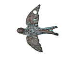 Greek Copper Patina Flying Dove 29x34mm