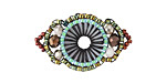 Chocolate Mint Hand Woven Baroque Circle 30x18mm