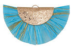 Sky Blue w/ Metallic Gold Fringed Raffia Focal 45x27mm