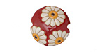 Golem Studio White Daisies on Red Carved Ceramic Lentil 23mm