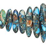 Teal Impression Jasper & Pyrite Graduated Stick 6-8x12-40mm