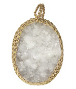 Druzy w/ Metallic Gold Crochet Pendant 34-36x42-44mm