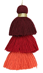 Coral Mix 3-Tiered Tassel 75mm