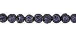 Metallic Black Violet (plated) Lava Rock Round 6mm