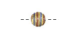 Czech Lampwork Antiqued Gold Foil w/ Montana Blue & Copper Round 10mm
