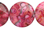 Ruby Crazy Lace Agate Puff Coin 30mm