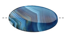 Denim Agate Flat Oval Pendant 58-60x28-32mm