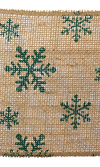 "Green Snowflake 5.5"" Burlap Ribbon"