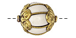 Tibetan White Shell & Brass Cage w/ Scallops Bead 26x21mm