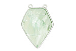 Green Fluorite Faceted Diamond Cut w/ Silver Finish Bezel Focal 21x30mm