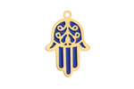 Classic Blue Enamel Gold (plated) Stainless Steel Hamsa Focal 17x25mm
