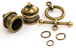 TierraCast Antique Brass (plated) Pagoda 10mm Cord End Set