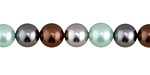 Mint Chocolate Shell Pearl Mix Round 8mm