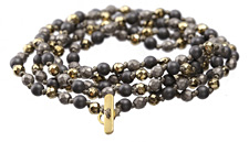 Camelot Hematite Mix 4mm Knotted Necklace w/ Clasp 35""