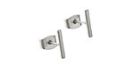 Satin Rhodium (Plated) Rounded Bar Post Earring w/Back
