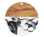 Walnut Wood & Jet & Clear Inky Resin Coin Focal 38mm