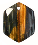 Blue Tiger Eye Faceted Hexagon Pendant 40x48-50mm