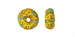 African Recycled Seed Bead Mint Green & Yellow Donut 4-6x17-20mm