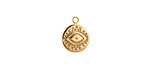Gold (plated) Stainless Steel Evil Eye Coin Charm 10x12mm