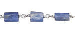 Kyanite Natural Cut Tube 6x8-10mm Silver Finish Bead Chain