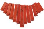 Red Jasper Stick Bib Pendant Set Graduated 4x12-29mm