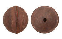 Natural Antique Brown Leather Round Bead 26-29mm