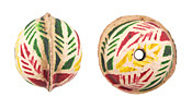 Hand Painted Violet, Green & Yellow Palm Leaves Leather Round Bead 20-22mm