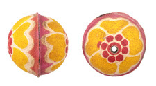 Hand Painted Buttercup Leather Round Bead 26-29mm