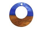 Walnut Wood & Indigo Pearlescent Resin Off-Center Hoop Focal 28mm
