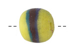 African Powder Glass Citrus w/ Peacock/Burgundy/Cobalt Band Large Round Bead 22-23mm