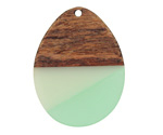 Walnut Wood & Beach Glass Resin Teardrop Focal 28x37mm