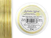 Artistic Wire Bare Yellow Brass 22 gauge, 15 yards