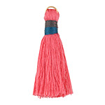 Vintage Rose w/ Navy and Charcoal Binding & Jump Ring Thread Tassel 41mm
