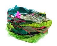 Green 100% Silk Sari Windswept Ribbon