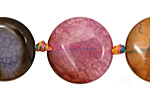 Rainbow SnakeSkin Agate Puff Coin 22mm
