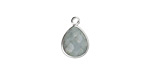 Aquamarine Faceted Teardrop Pendant in Silver Finish Bezel 10x14mm