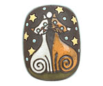 Golem Studio Cats Under the Stars Carved Ceramic Rectangle Pendant 29x38mm