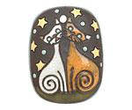 Golem Studio Cats Under the Stars Carved Ceramic Rectangle Pendant 29x38mm