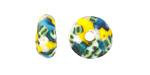 African Recycled Glass & Seed Bead Aqua & White w/ Yellow Mini Donut 5-6x13-15mm