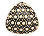 Golem Studio Black & White Eyes Carved Ceramic Triangle Pendant 39mm