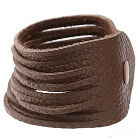 "The Lipstick Ranch Cocoa Shredded Leather Cuff Bracelet 2""x 9 3/4"""
