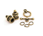 TierraCast Antique Brass (plated) Pagoda 4mm Cord End Set