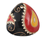 Golem Studio Red & Black Paisley Carved Ceramic Triangle 38mm