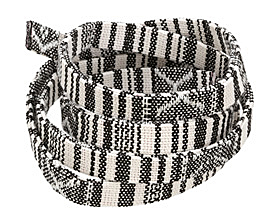 Vintage Black & White Flat Woven Cotton Cord 10mm