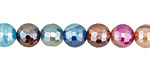 Jewel Tone Mix Line Agate w/ Silver Luster Faceted Round 8mm