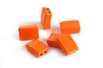 Orange Enamel 2-Hole Tile Rectangle Bead 12x8mm