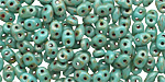 Opaque Turquoise Picasso SuperDuo 2x5mm Seed Bead